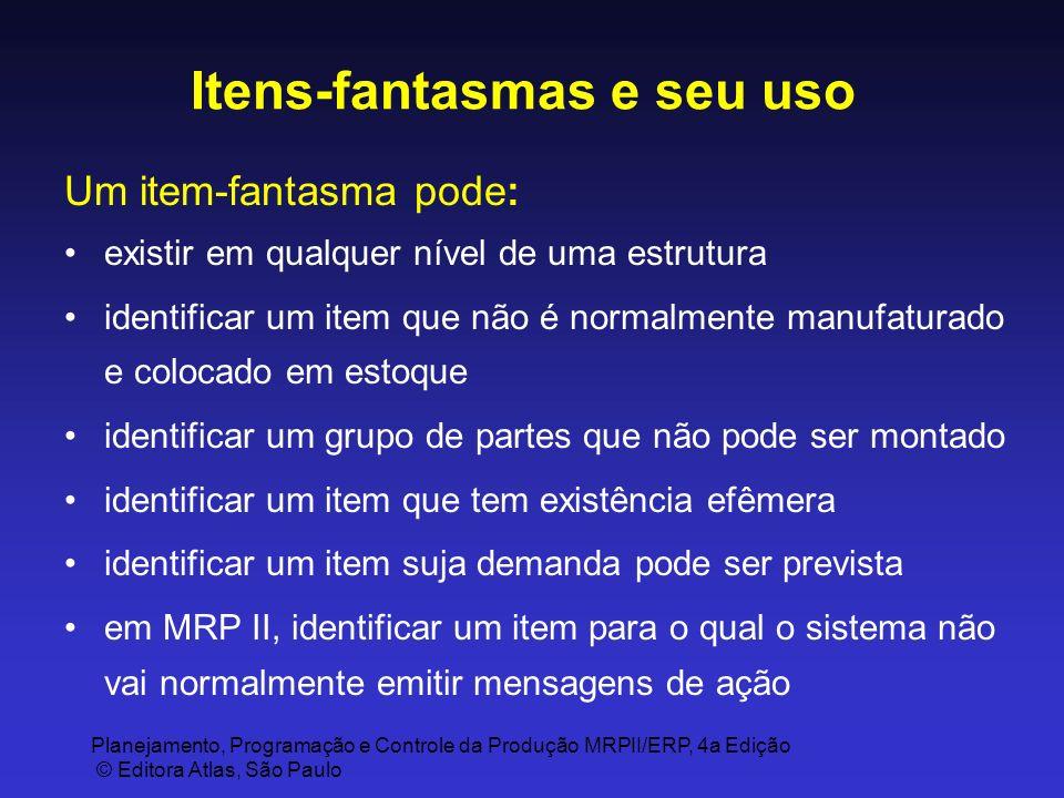 Planejamento, Programação e Controle da Produção MRPII/ERP, 4a Edição © Editora Atlas, São Paulo Itens-fantasmas e seu uso Um item-fantasma pode: exis