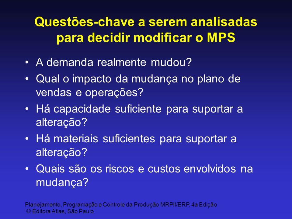 Planejamento, Programação e Controle da Produção MRPII/ERP, 4a Edição © Editora Atlas, São Paulo Questões-chave a serem analisadas para decidir modifi