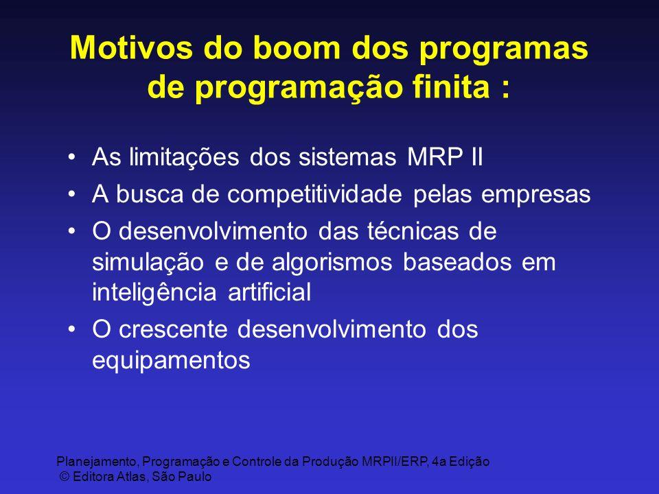 Planejamento, Programação e Controle da Produção MRPII/ERP, 4a Edição © Editora Atlas, São Paulo Motivos do boom dos programas de programação finita :