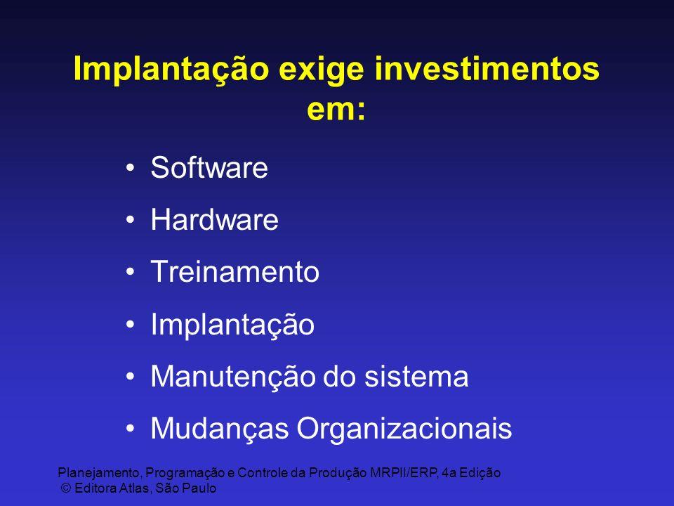 Planejamento, Programação e Controle da Produção MRPII/ERP, 4a Edição © Editora Atlas, São Paulo Implantação exige investimentos em: Software Hardware