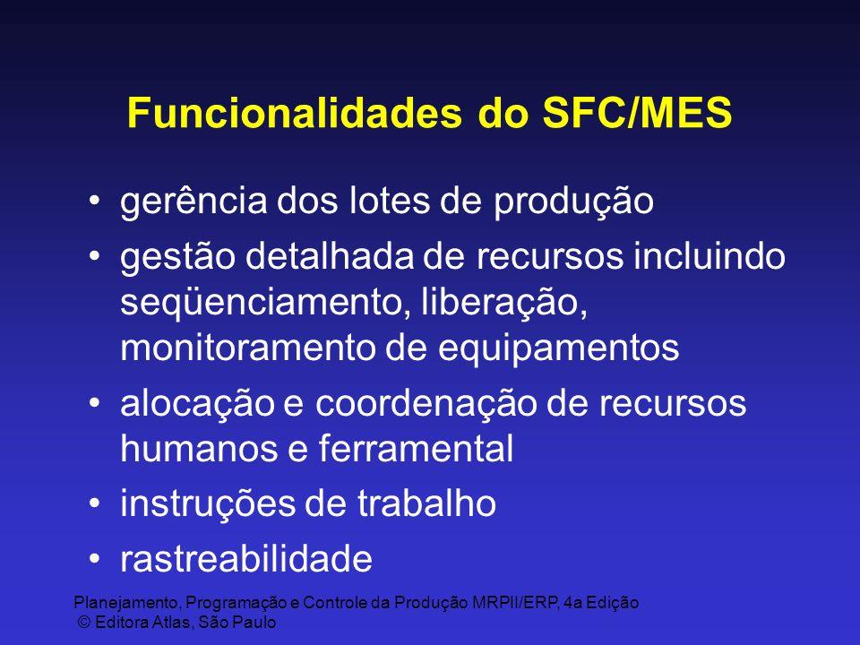 Planejamento, Programação e Controle da Produção MRPII/ERP, 4a Edição © Editora Atlas, São Paulo Funcionalidades do SFC/MES gerência dos lotes de prod