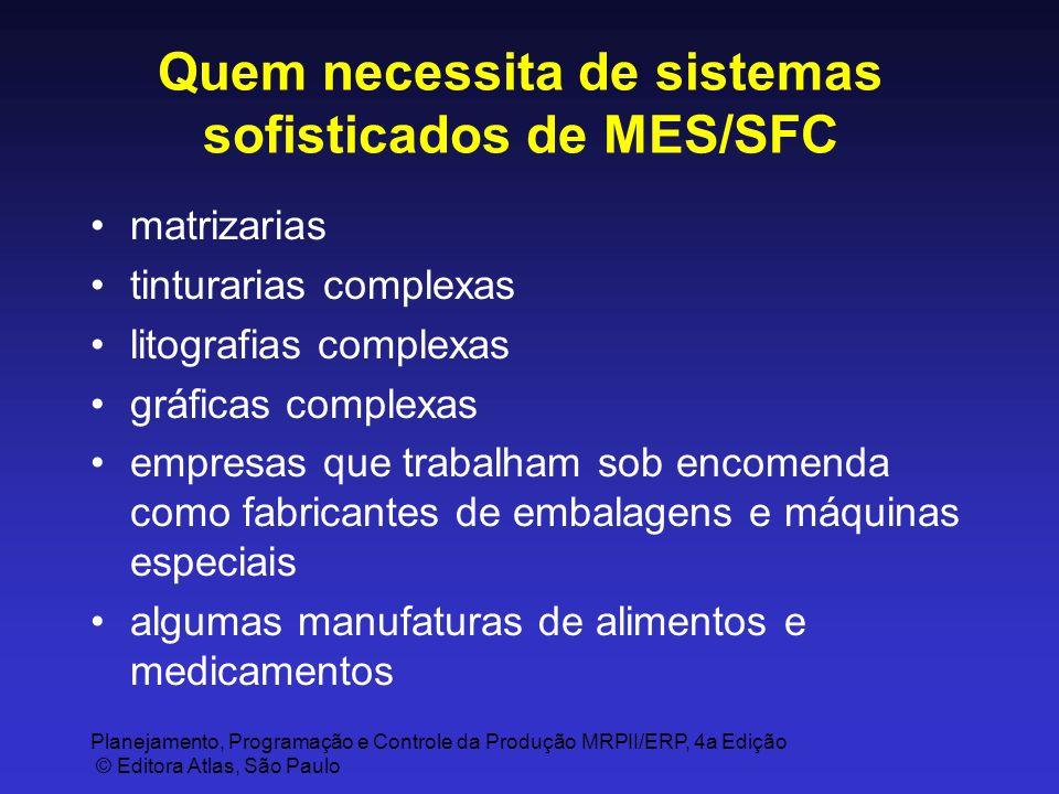 Planejamento, Programação e Controle da Produção MRPII/ERP, 4a Edição © Editora Atlas, São Paulo Quem necessita de sistemas sofisticados de MES/SFC ma