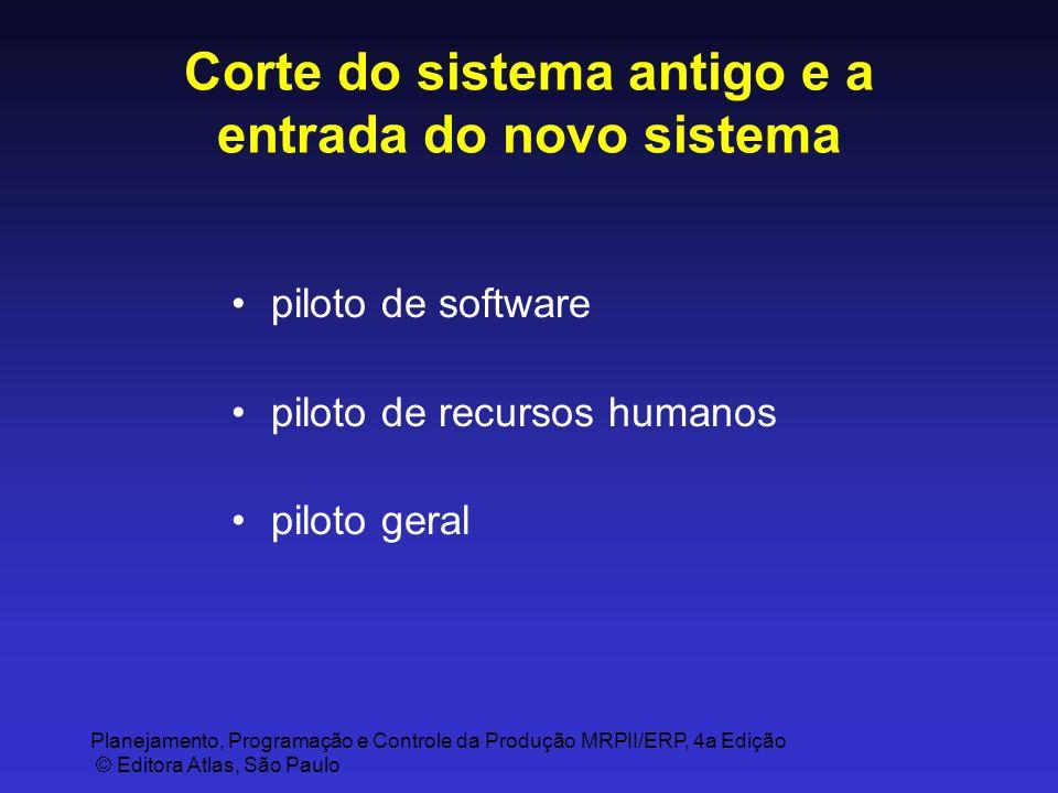 Planejamento, Programação e Controle da Produção MRPII/ERP, 4a Edição © Editora Atlas, São Paulo Corte do sistema antigo e a entrada do novo sistema p