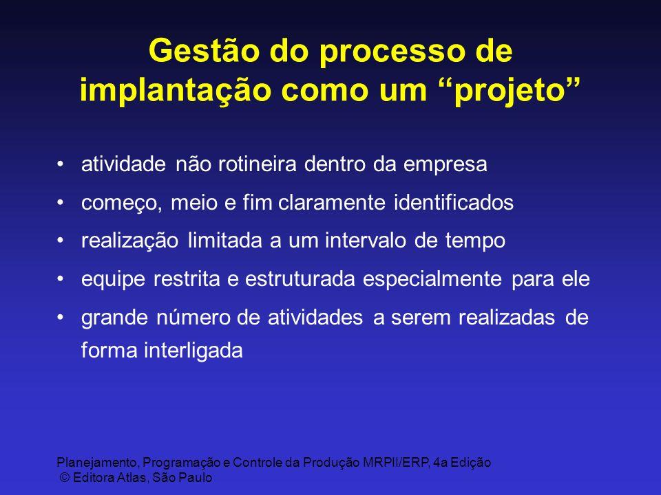 Planejamento, Programação e Controle da Produção MRPII/ERP, 4a Edição © Editora Atlas, São Paulo Gestão do processo de implantação como um projeto ati