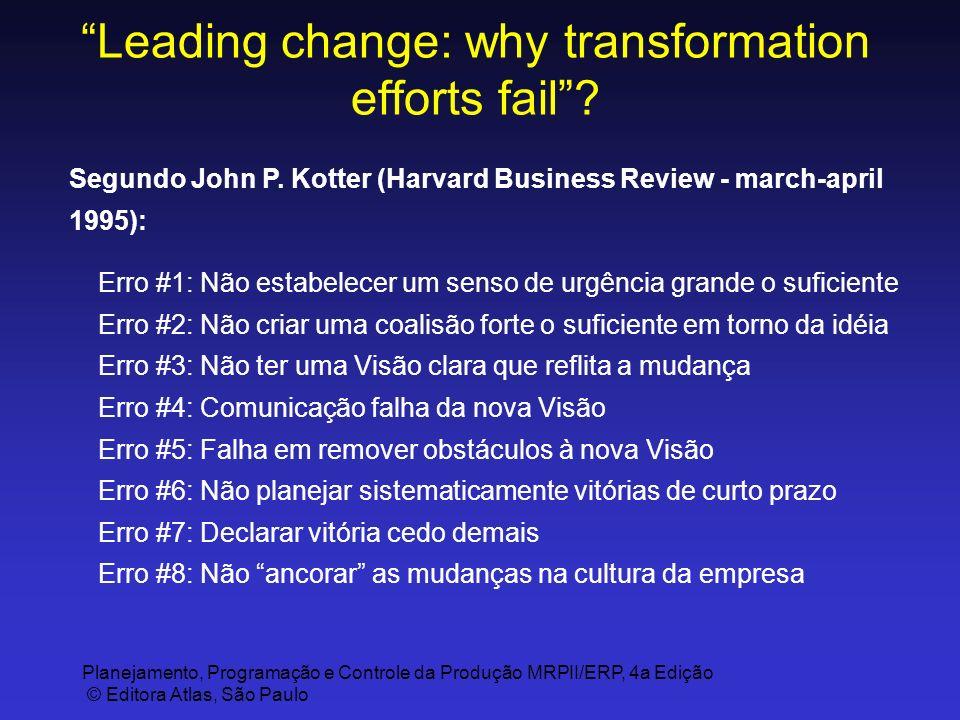 Planejamento, Programação e Controle da Produção MRPII/ERP, 4a Edição © Editora Atlas, São Paulo Leading change: why transformation efforts fail? Segu