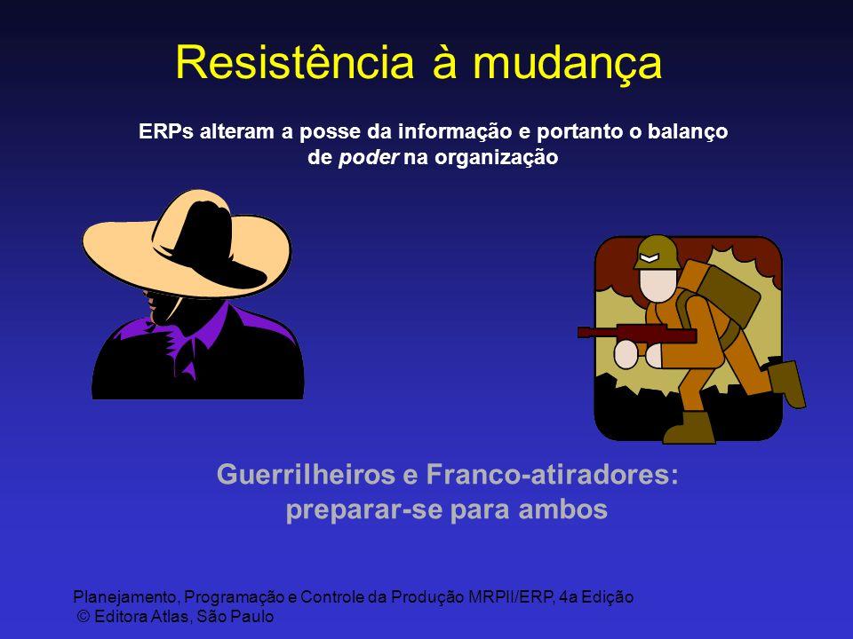 Planejamento, Programação e Controle da Produção MRPII/ERP, 4a Edição © Editora Atlas, São Paulo Resistência à mudança Guerrilheiros e Franco-atirador