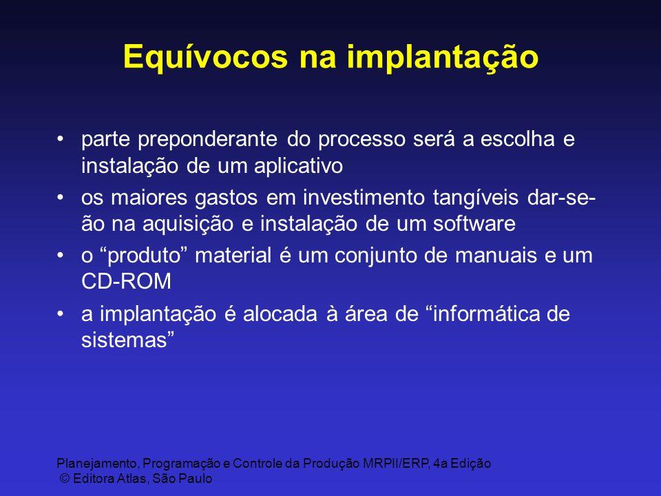 Planejamento, Programação e Controle da Produção MRPII/ERP, 4a Edição © Editora Atlas, São Paulo Equívocos na implantação parte preponderante do proce