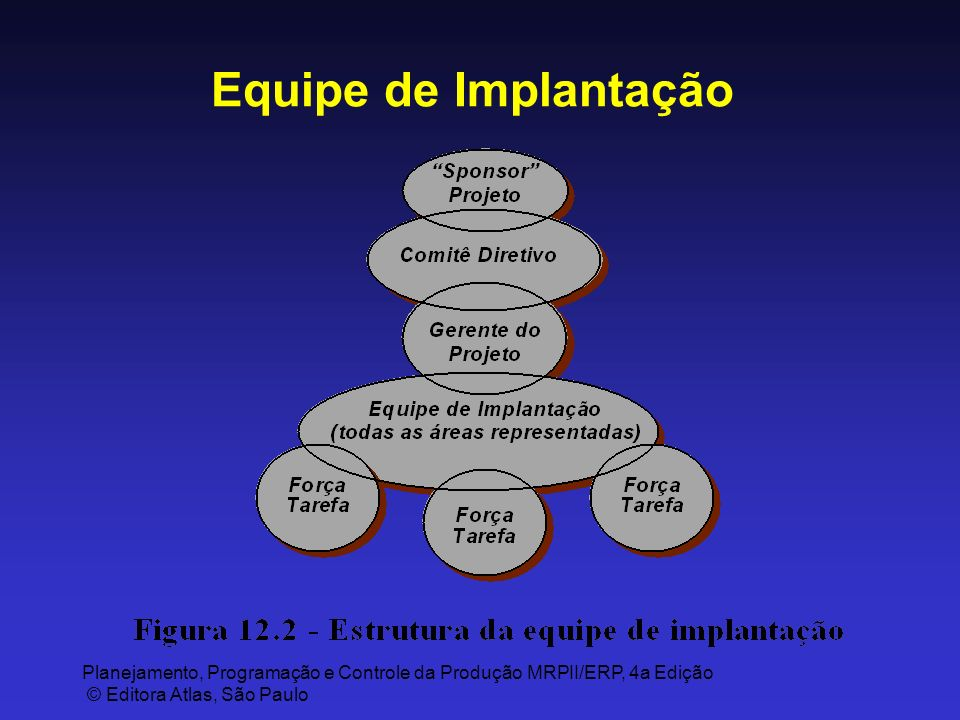 Planejamento, Programação e Controle da Produção MRPII/ERP, 4a Edição © Editora Atlas, São Paulo Equipe de Implantação
