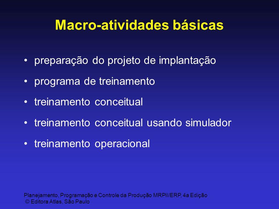 Planejamento, Programação e Controle da Produção MRPII/ERP, 4a Edição © Editora Atlas, São Paulo Macro-atividades básicas preparação do projeto de imp