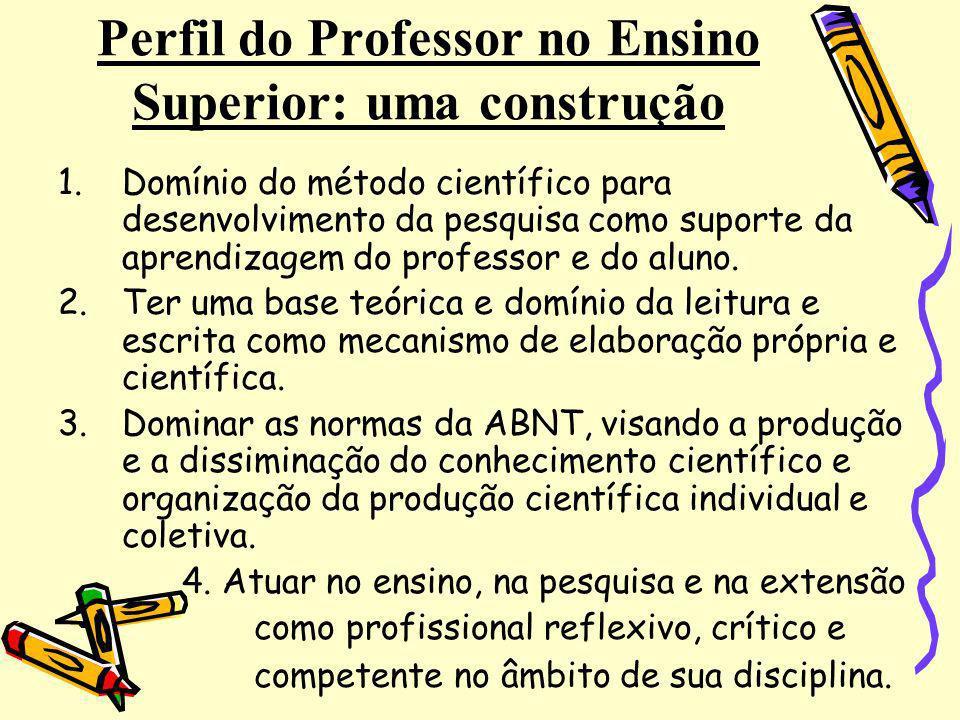 Perfil do Professor no Ensino Superior: uma construção 1.Domínio do método científico para desenvolvimento da pesquisa como suporte da aprendizagem do