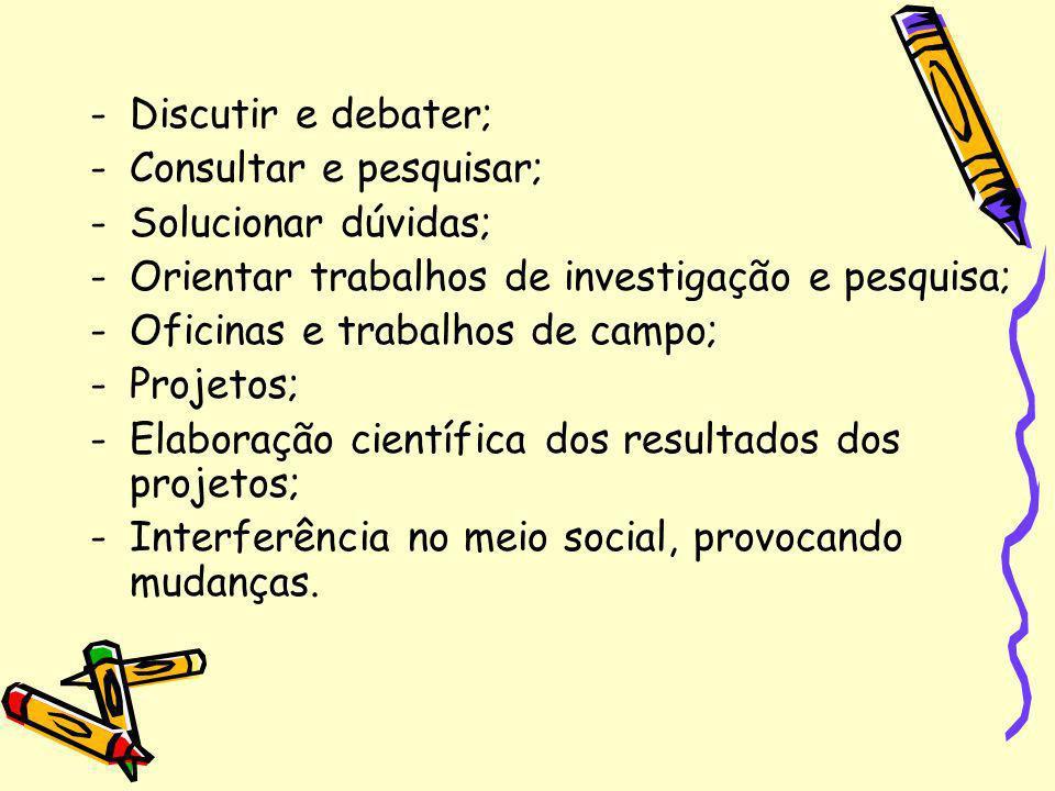 -Discutir e debater; -Consultar e pesquisar; -Solucionar dúvidas; -Orientar trabalhos de investigação e pesquisa; -Oficinas e trabalhos de campo; -Pro