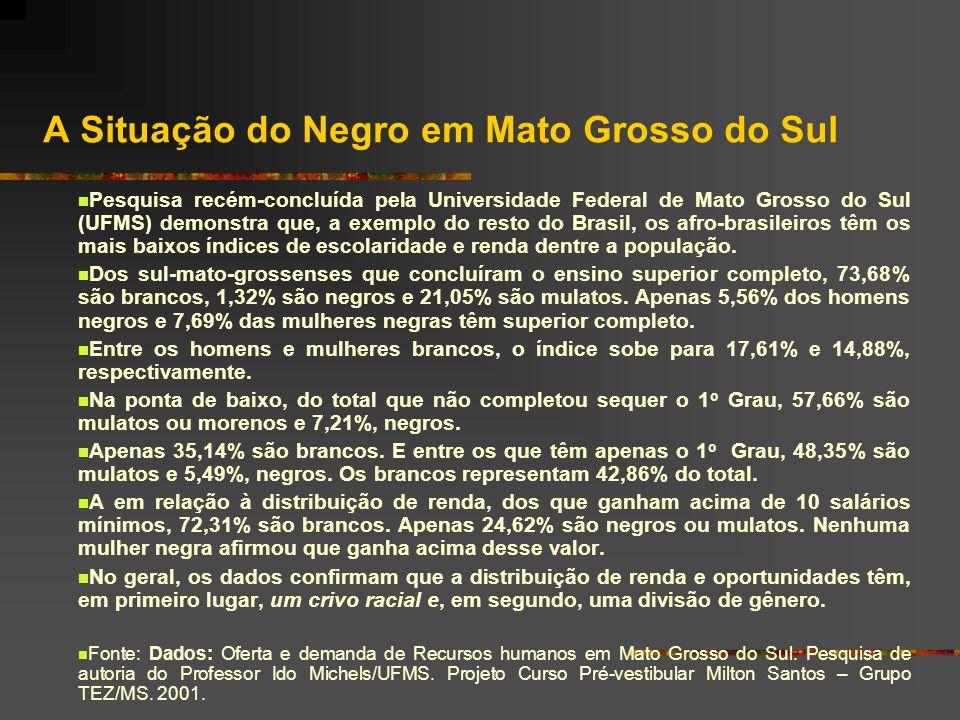 A Situação do Negro em Mato Grosso do Sul Pesquisa recém-concluída pela Universidade Federal de Mato Grosso do Sul (UFMS) demonstra que, a exemplo do