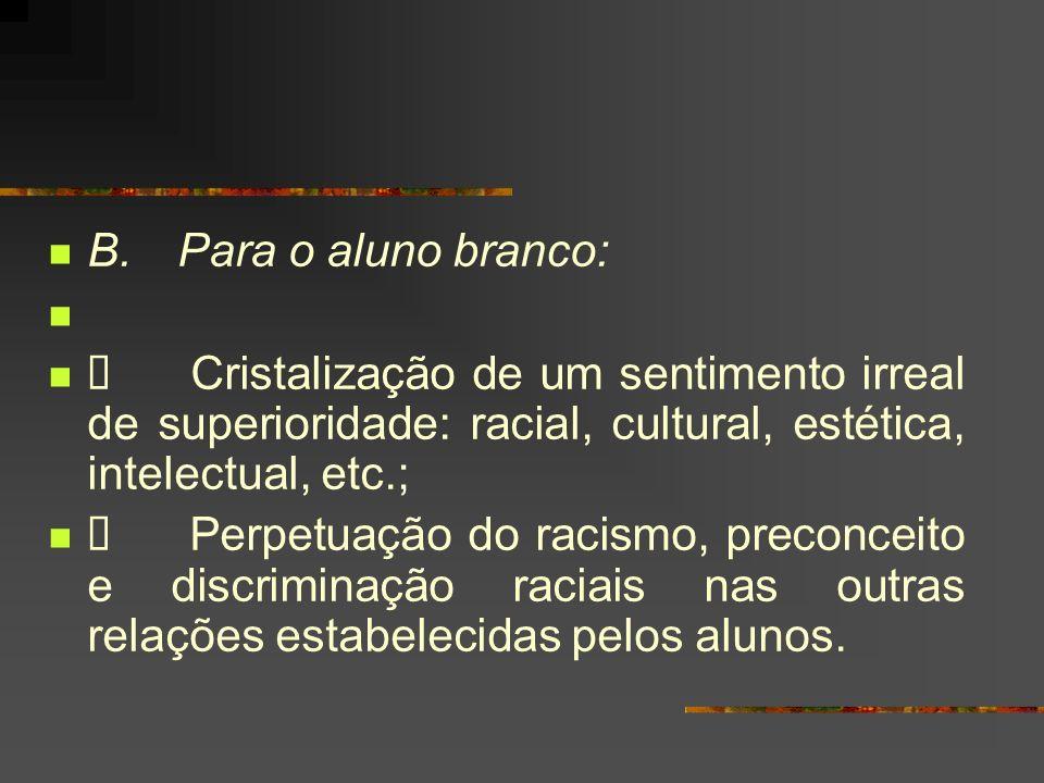 B. Para o aluno branco: Cristalização de um sentimento irreal de superioridade: racial, cultural, estética, intelectual, etc.; Perpetuação do racismo,