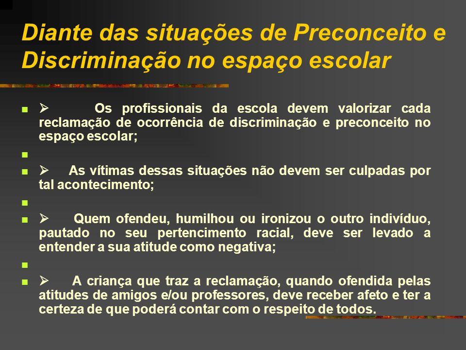 Diante das situações de Preconceito e Discriminação no espaço escolar Os profissionais da escola devem valorizar cada reclamação de ocorrência de disc