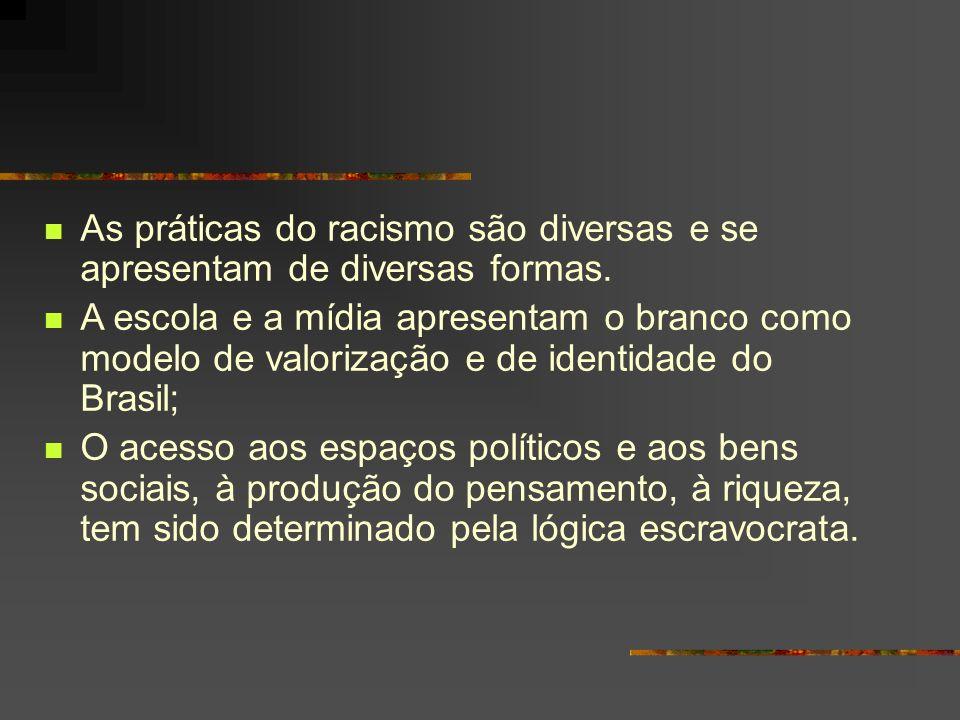 As práticas do racismo são diversas e se apresentam de diversas formas. A escola e a mídia apresentam o branco como modelo de valorização e de identid