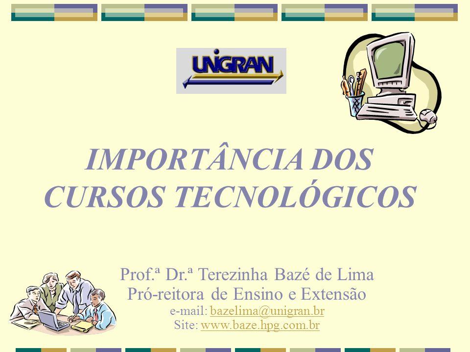 IMPORTÂNCIA DOS CURSOS TECNOLÓGICOS Prof.ª Dr.ª Terezinha Bazé de Lima Pró-reitora de Ensino e Extensão e-mail: bazelima@unigran.brbazelima@unigran.br