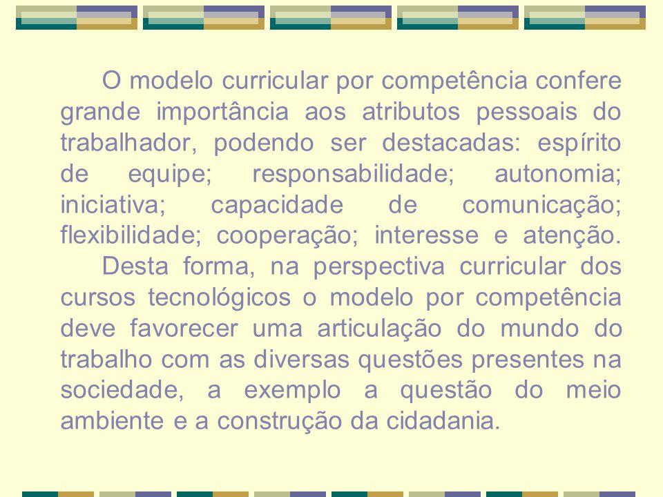 O modelo curricular por competência confere grande importância aos atributos pessoais do trabalhador, podendo ser destacadas: espírito de equipe; resp