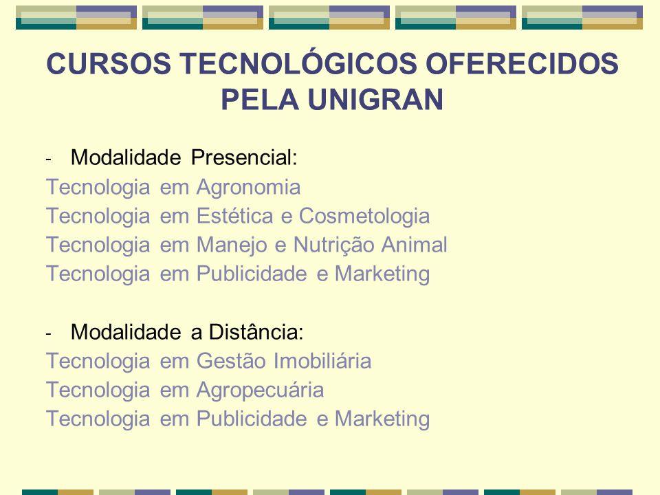 CURSOS TECNOLÓGICOS OFERECIDOS PELA UNIGRAN - Modalidade Presencial: Tecnologia em Agronomia Tecnologia em Estética e Cosmetologia Tecnologia em Manej