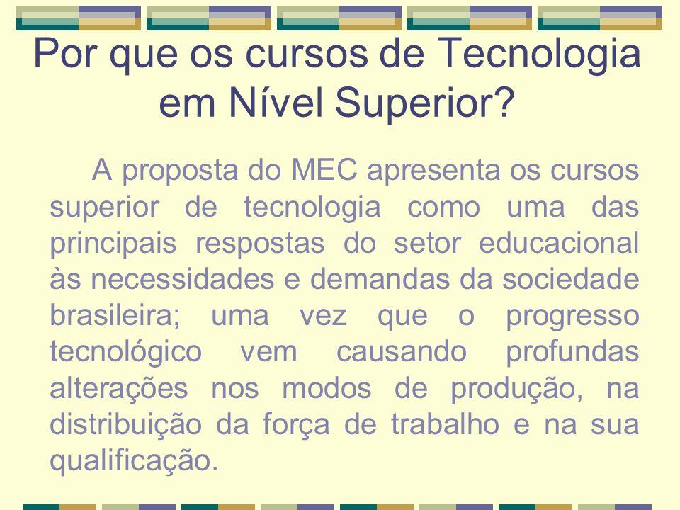 Por que os cursos de Tecnologia em Nível Superior? A proposta do MEC apresenta os cursos superior de tecnologia como uma das principais respostas do s