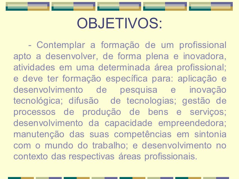 OBJETIVOS: - Contemplar a formação de um profissional apto a desenvolver, de forma plena e inovadora, atividades em uma determinada área profissional;
