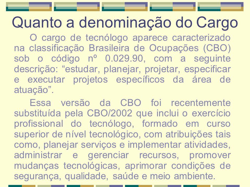 Quanto a denominação do Cargo O cargo de tecnólogo aparece caracterizado na classificação Brasileira de Ocupações (CBO) sob o código nº 0.029.90, com