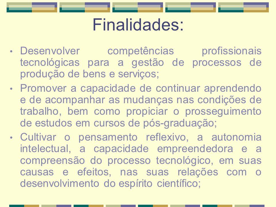 Finalidades: Desenvolver competências profissionais tecnológicas para a gestão de processos de produção de bens e serviços; Promover a capacidade de c