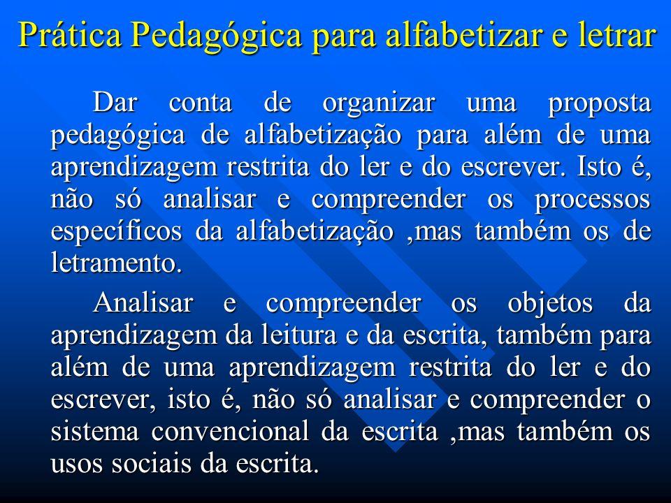 Prática Pedagógica para alfabetizar e letrar Dar conta de organizar uma proposta pedagógica de alfabetização para além de uma aprendizagem restrita do