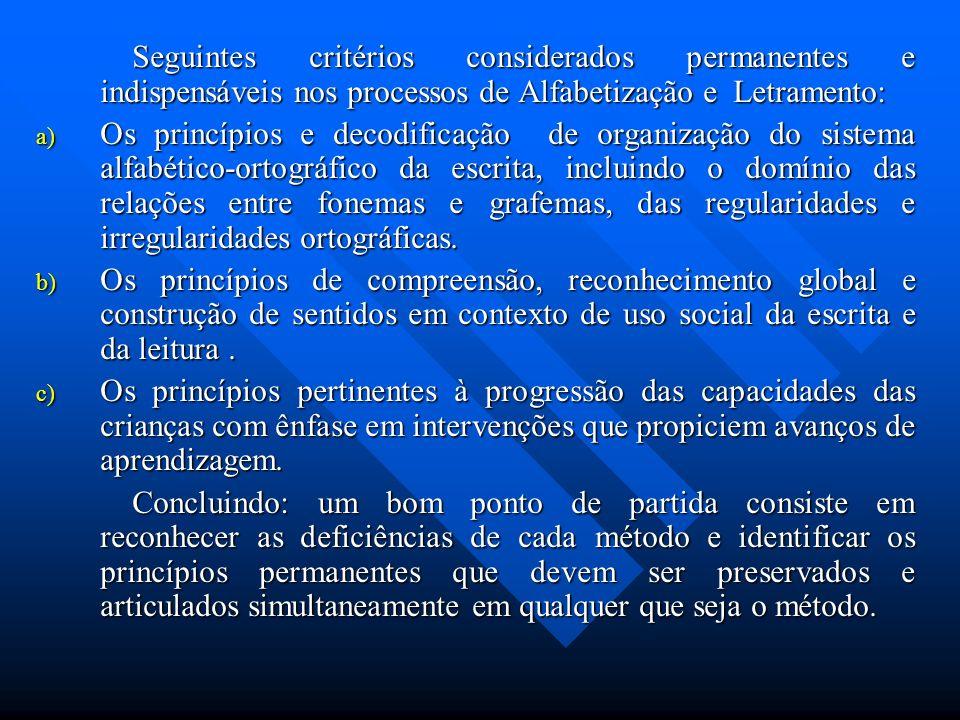Seguintes critérios considerados permanentes e indispensáveis nos processos de Alfabetização e Letramento: a) Os princípios e decodificação de organiz