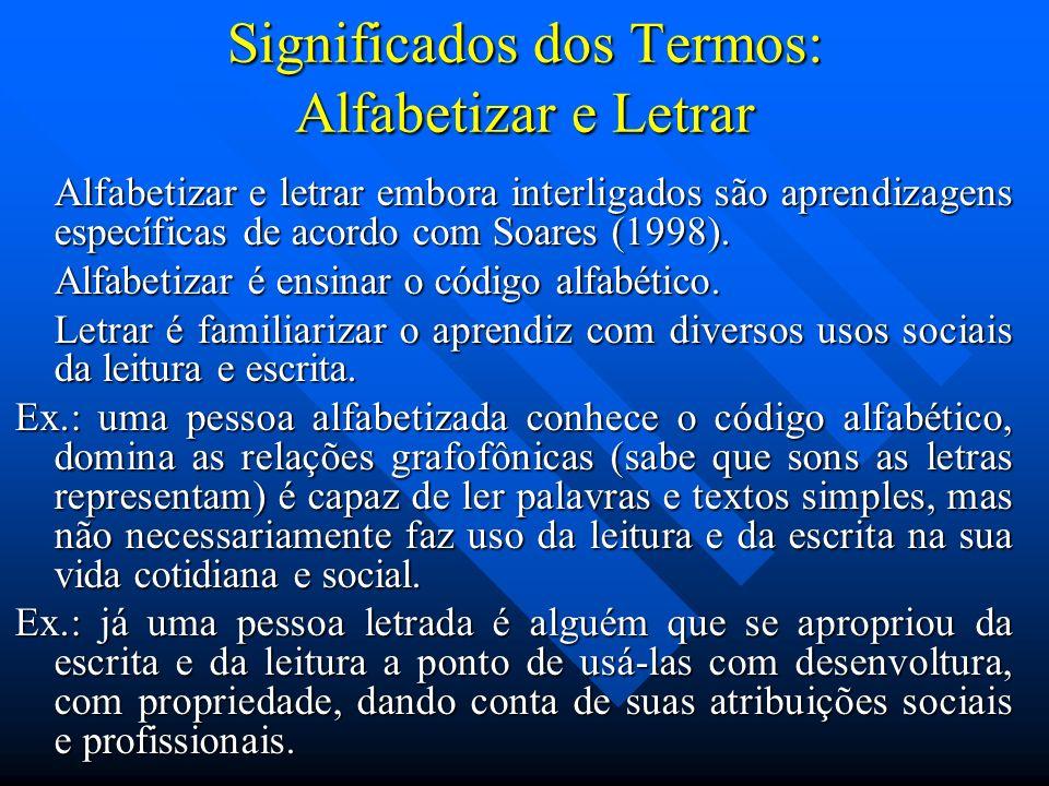 Significados dos Termos: Alfabetizar e Letrar Alfabetizar e letrar embora interligados são aprendizagens específicas de acordo com Soares (1998). Alfa