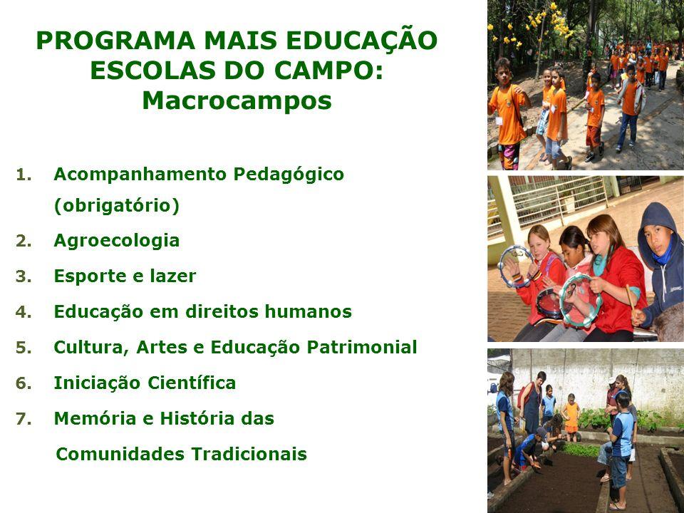 PROGRAMA MAIS EDUCAÇÃO ESCOLAS DO CAMPO: Macrocampos 1. Acompanhamento Pedagógico (obrigatório) 2. Agroecologia 3. Esporte e lazer 4. Educação em dire