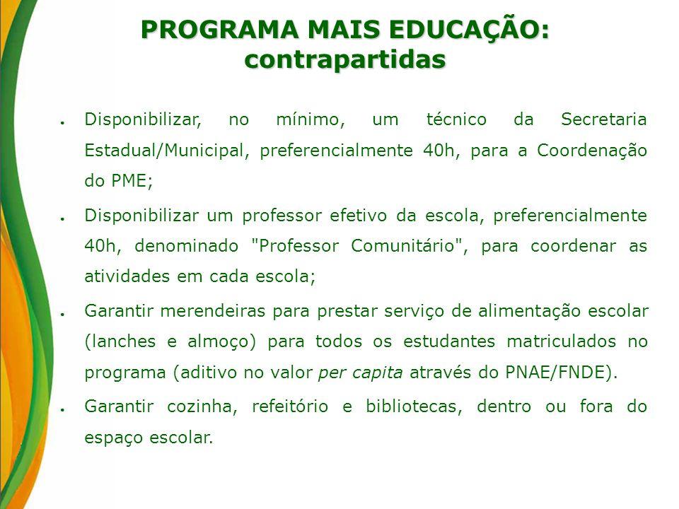 PROGRAMA MAIS EDUCAÇÃO: contrapartidas Disponibilizar, no mínimo, um técnico da Secretaria Estadual/Municipal, preferencialmente 40h, para a Coordenaç