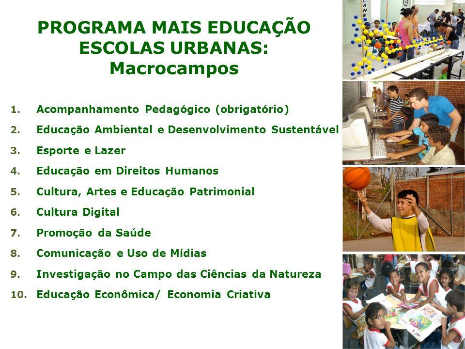 PROGRAMA MAIS EDUCAÇÃO ESCOLAS URBANAS: Macrocampos 1. Acompanhamento Pedagógico (obrigatório) 2. Educação Ambiental e Desenvolvimento Sustentável 3.