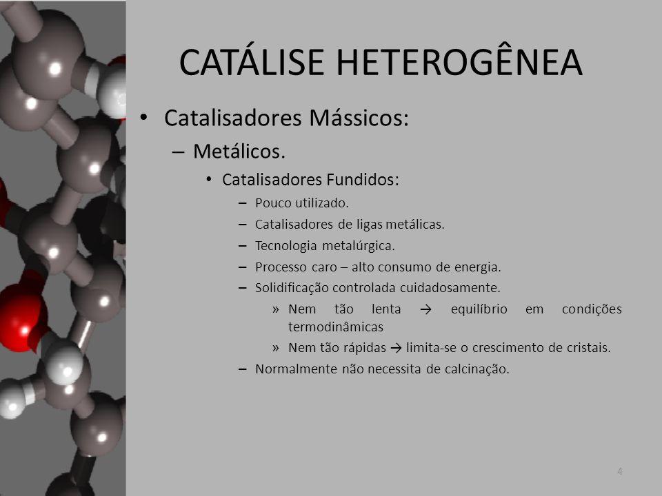 CATÁLISE HETEROGÊNEA Catalisadores Suportados: – Duas principais etapas: Deposição do precursor do componente ativo.