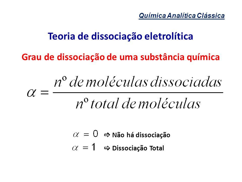 Química Analítica Clássica Teoria de dissociação eletrolítica Grau de dissociação de uma substância química Não há dissociação Dissociação Total