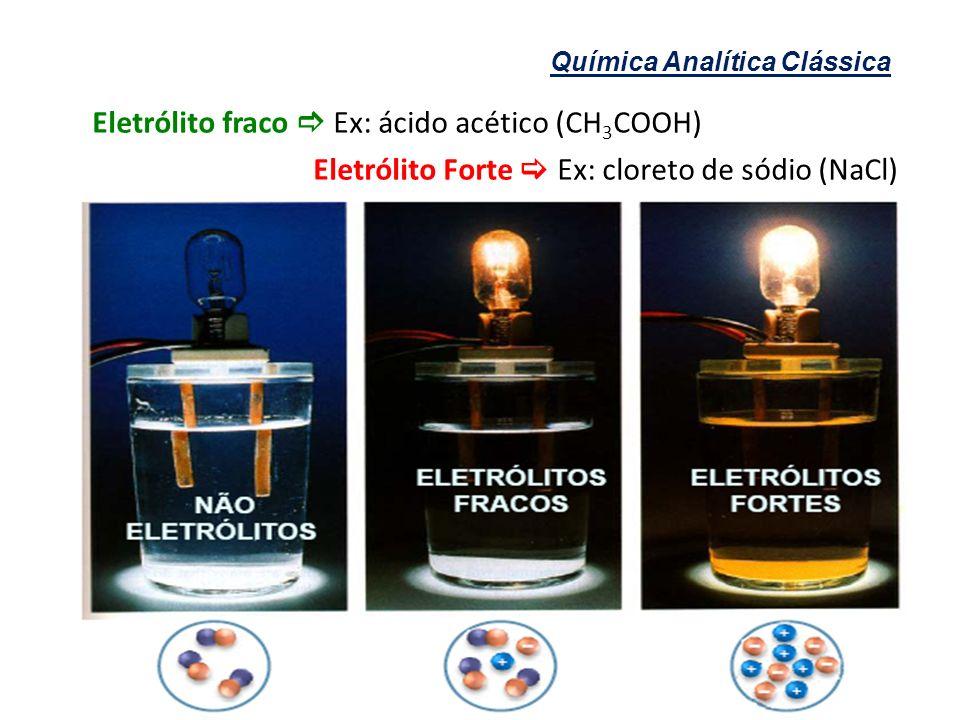 Química Analítica Clássica Eletrólito fraco Ex: ácido acético (CH 3 COOH) Eletrólito Forte Ex: cloreto de sódio (NaCl)