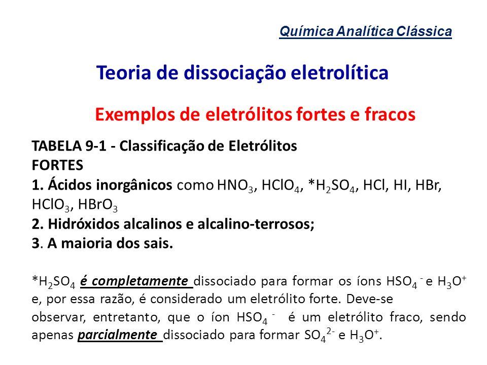 Química Analítica Clássica Teoria de dissociação eletrolítica Exemplos de eletrólitos fortes e fracos TABELA 9-1 - Classificação de Eletrólitos FORTES