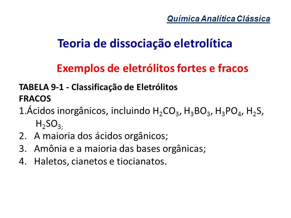 Química Analítica Clássica Teoria de dissociação eletrolítica Exemplos de eletrólitos fortes e fracos TABELA 9-1 - Classificação de Eletrólitos FRACOS