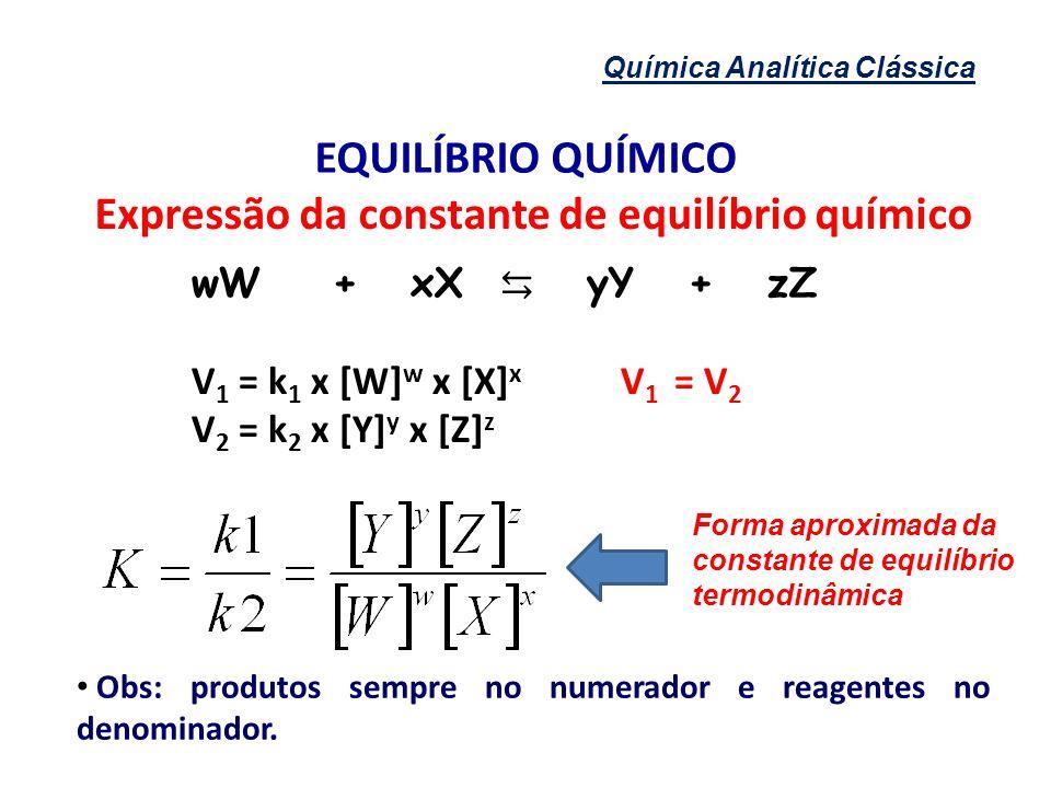 Química Analítica Clássica EQUILÍBRIO QUÍMICO Expressão da constante de equilíbrio químico wW + xX yY + zZ V 1 = k 1 x [W] w x [X] x V 1 = V 2 V 2 = k