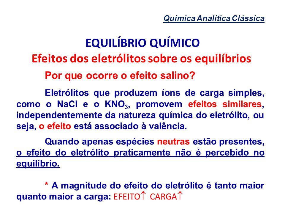 Química Analítica Clássica EQUILÍBRIO QUÍMICO Efeitos dos eletrólitos sobre os equilíbrios Por que ocorre o efeito salino? Eletrólitos que produzem ío