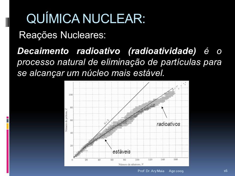 QUÍMICA NUCLEAR: Ago 2009 16 Prof. Dr. Ary Maia Reações Nucleares: Decaimento radioativo (radioatividade) é o processo natural de eliminação de partíc
