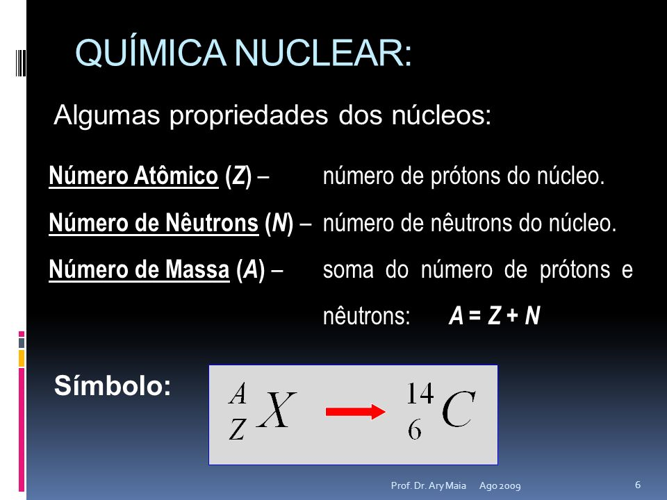 QUÍMICA NUCLEAR: Ago 2009 7 Prof.Dr.