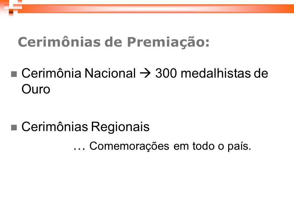 Cerimônias de Premiação: Cerimônia Nacional 300 medalhistas de Ouro Cerimônias Regionais … Comemorações em todo o país.