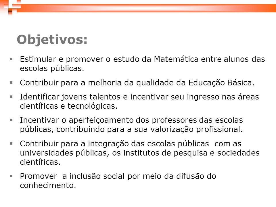 Estimular e promover o estudo da Matemática entre alunos das escolas públicas.