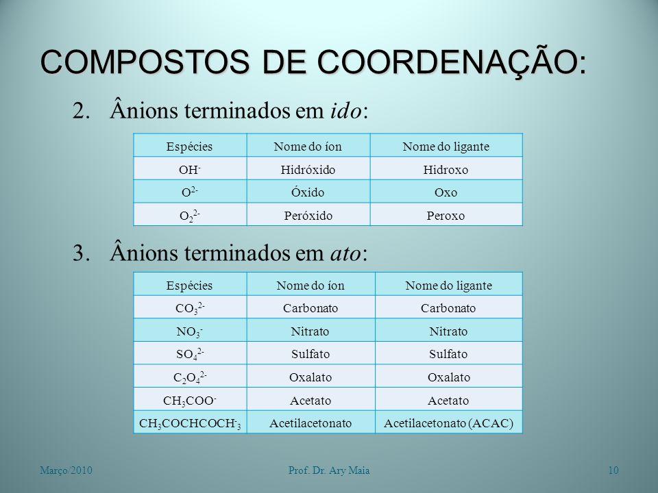 COMPOSTOS DE COORDENAÇÃO: 2.Ânions terminados em ido: 3.Ânions terminados em ato: Março/201010Prof. Dr. Ary Maia EspéciesNome do íonNome do ligante OH