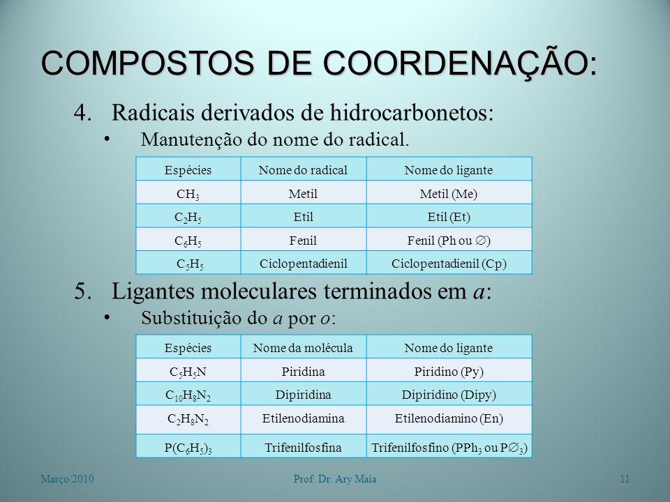 COMPOSTOS DE COORDENAÇÃO: 4.Radicais derivados de hidrocarbonetos: Manutenção do nome do radical. 5.Ligantes moleculares terminados em a: Substituição