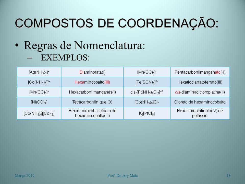 COMPOSTOS DE COORDENAÇÃO: Regras de Nomenclatura : – EXEMPLOS: Março/201013Prof. Dr. Ary Maia [Ag(NH 3 ) 2 ] + Diaminprata(I)[Mn(CO) 5 ] - Pentacarbon