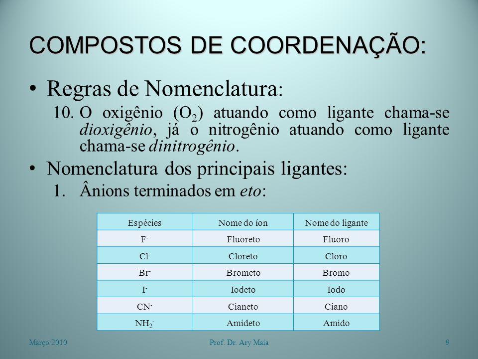 COMPOSTOS DE COORDENAÇÃO: Regras de Nomenclatura : 10.O oxigênio (O 2 ) atuando como ligante chama-se dioxigênio, já o nitrogênio atuando como ligante