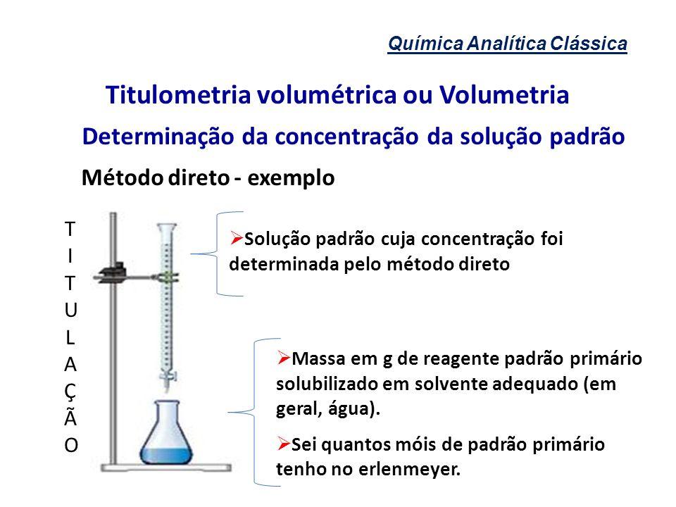 Química Analítica Clássica Titulometria volumétrica ou Volumetria Determinação da concentração da solução padrão Método direto - exemplo Solução padrã