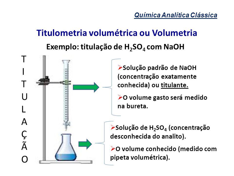Química Analítica Clássica Titulometria volumétrica ou Volumetria Solução padrão de NaOH (concentração exatamente conhecida) ou titulante. O volume ga