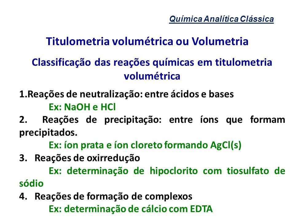Química Analítica Clássica Titulometria volumétrica ou Volumetria Classificação das reações químicas em titulometria volumétrica 1.Reações de neutrali